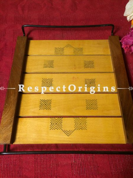 Rectangular Yellow Wooden Tray With Wrought Iron Handle, RespectOrigins