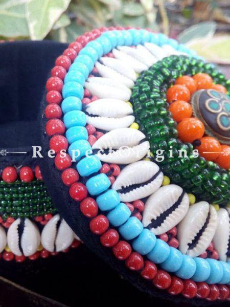 Red blue and green Ladakhi Beaded Container RespectOrigins.com