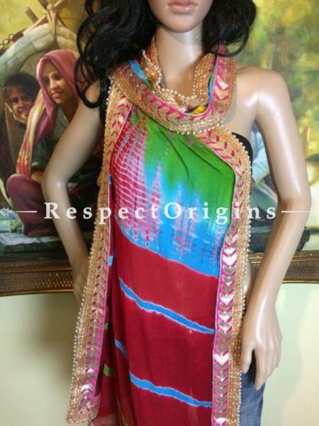 Buy Red, Green, Gold Bandhani Georgette Stole at RespectOrigins.com