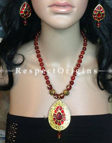 Gorgeous  Red Beaded Jewellery Set; Silver, RespectOrigins.com