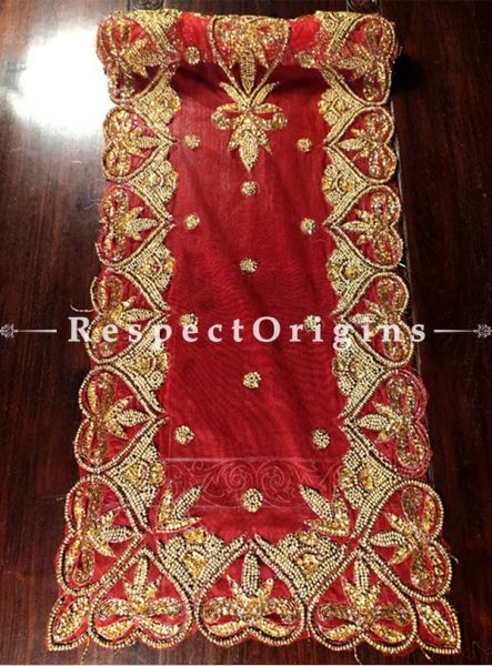 Buy Red Base Table Runner, Golden white Beads, Beadwork Handcrafted 80x20 in At RespectOrigins.com