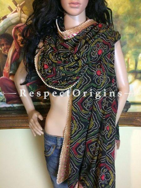 Buy Black, Red n Gold Bandhani Georgette Stole at RespectOrigins.com