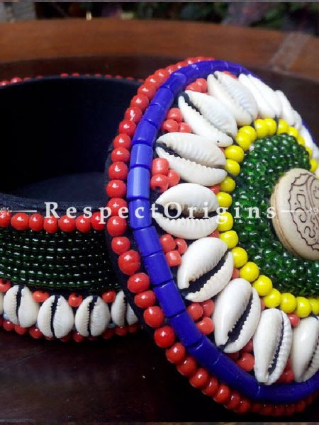Red, blue and green Jewellery Box With Beads and Sea Shells; Ladakhi Beaded Container; RespectOrigins.com