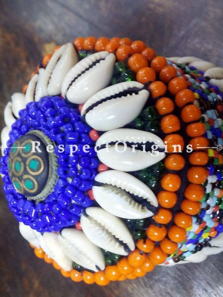 orange, blue and black Jewellery Box With Beads and Sea Shells; Ladakhi Beaded Container; RespectOrigins.com