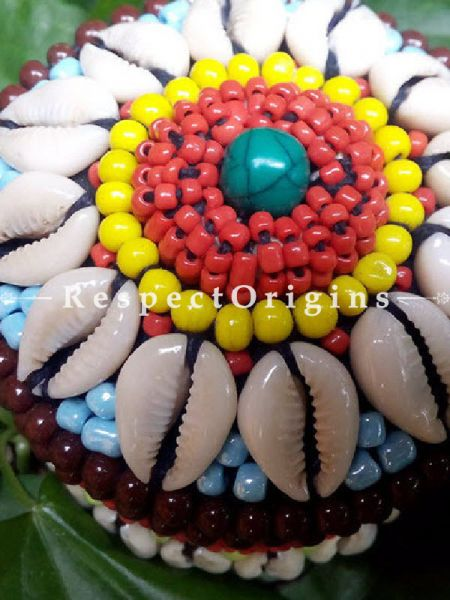 Red, blue and yellow Jewellery Box With Beads and Sea Shells; Ladakhi Beaded Container; RespectOrigins.com