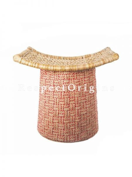 Buy Buy Red Rattan Cane and Jute Hibiscus Ottoman At RespectOrigins.com
