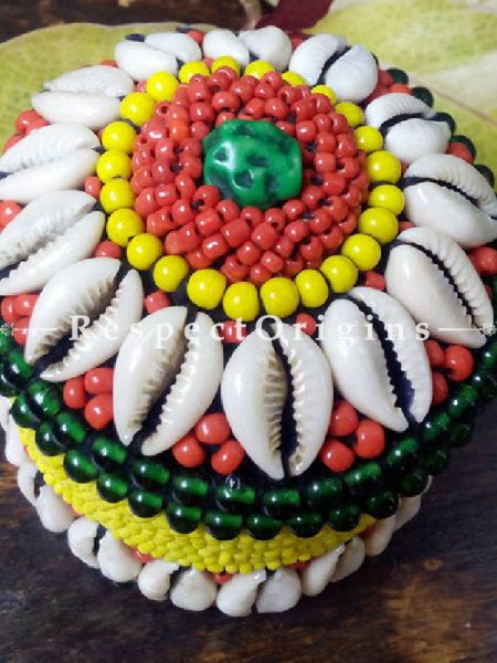 Red, green and yellow Ladakhi Beaded Container; RespectOrigins.com