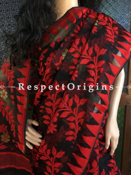 Red; HandLoom; Dhakai Mul Cotton Saree, RespectOrigins.com