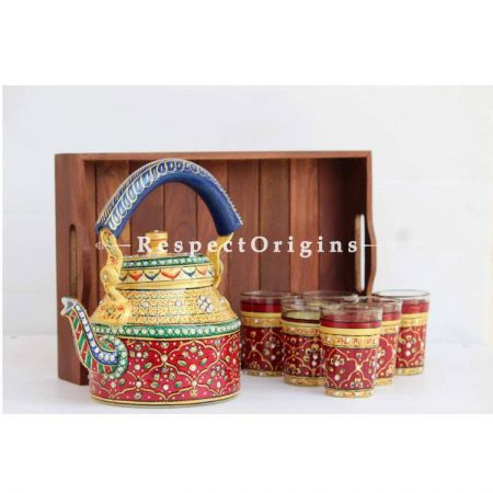 Red and Gold Hand Painted Aluminium kettle set with Wooden tray; RespectOrigins.com