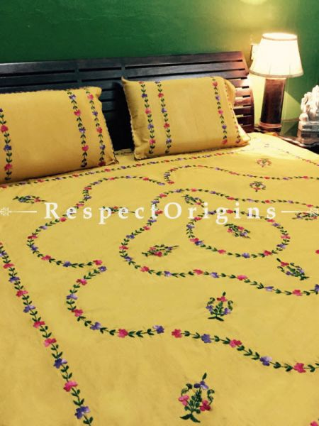 Buy Red on Mustard Yellow; Cotton Bedspread; Pillow Cases included; 90x110 in At RespectOrigins.com