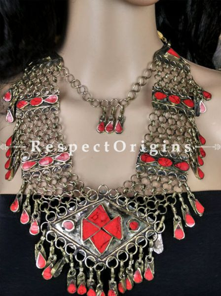 Stylish and classy Red Stone Jewellery Set - Silver, RespectOrigins.com