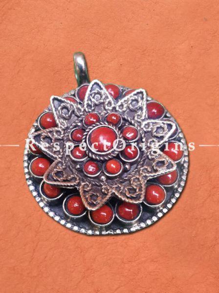 Elegant Round Silver Pendant with Red Stones, RespectOrigins.com