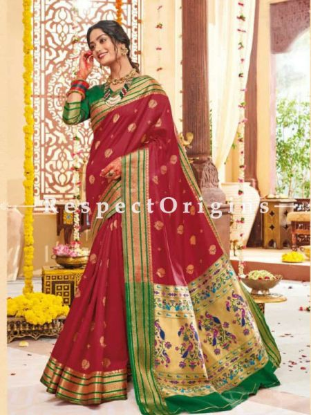 Red Paithani Handloom Silk Saree  with Zari Border; RespectOrigins.com
