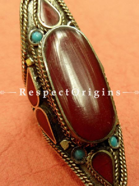 Magnificent German Silver and Red stone Big Finger Ring, RespectOrigins.com