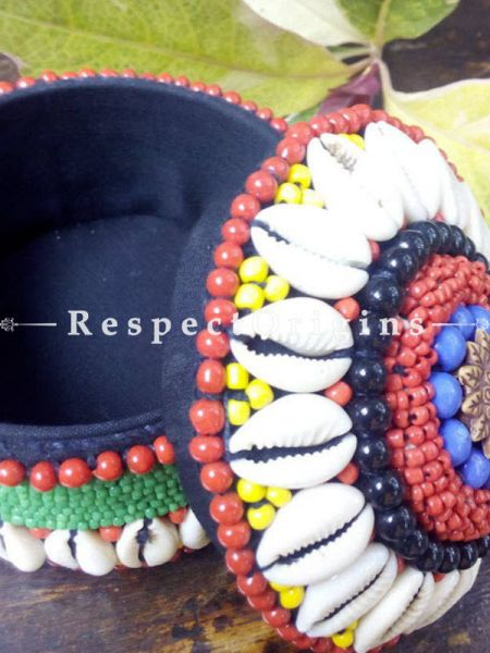 Red, Yellow And Blue jewellery Box With Beads And Sea Shells; Ladakhi Beaded Container; RespectOrigins.com