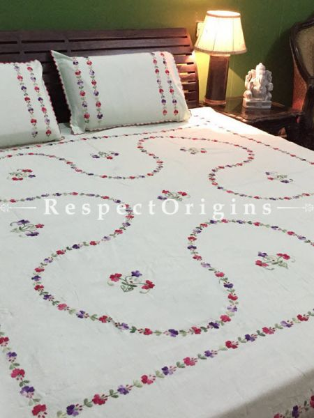 Buy Red on Cream; Cotton Bedspread; Pillow Cases included; 90x108 in At RespectOrigins.com