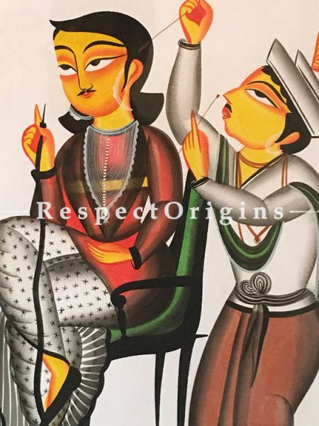 Relaxing; Traditional Kalighat Painting On Paper Using Natural Colour; Vertical Folk Art of Bengal; 15X22 inches; RespectOrigins