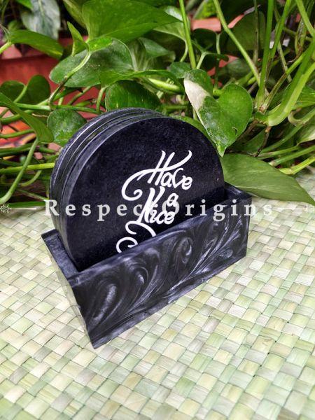 Round Tea Coaster Set of 4 With Holder in Black; 4 Inches Dia.; RespectOrigins.com