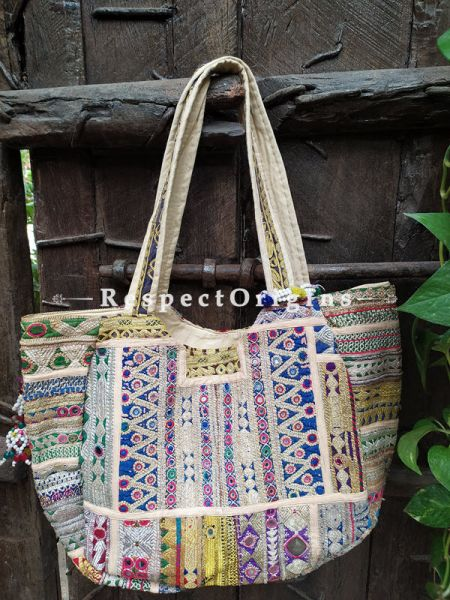 White Chic Boho Vintage Tribal Thick Cotton Hand Bags with Pom Poms; 12 x 8 Inches; RespectOrigins.com