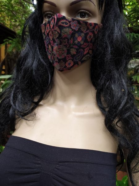 Black Paisley Trendy Pashmina Wollen Washable Face Mask Cream; 8 Inches; RespectOrigins.com