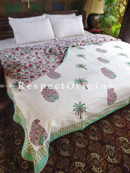 White Reversible Seasonal Rich Cotton Quilt Dohar Bed Spread In Block Printed Palm Floral Motifs; 110 x 90 Inches; RespectOrigins.com