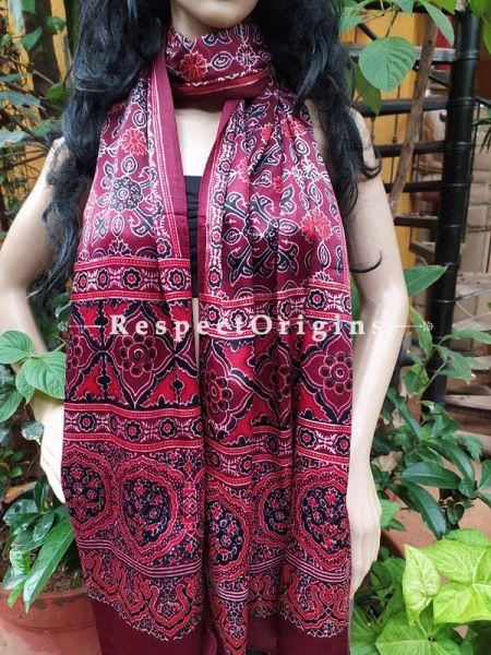 Brown Gujarati Ajrakh Block Printed Mashru Silk Stole; RespectOrigins.com