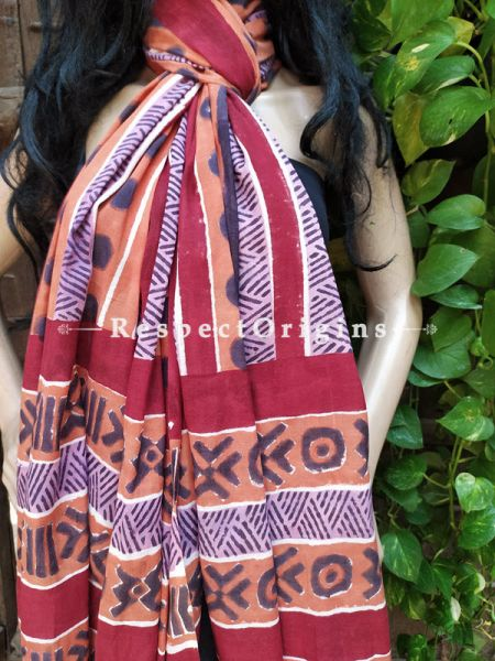 Brown Bagh Hand-printed Cotton Stole; 95 x 45 Inches; RespectOrigins.com