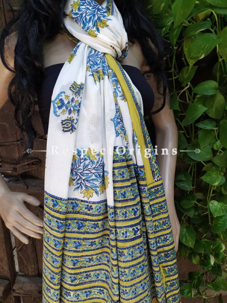 White Bagh Hand-printed Cotton Stole; 95 x 45 Inches; RespectOrigins.com