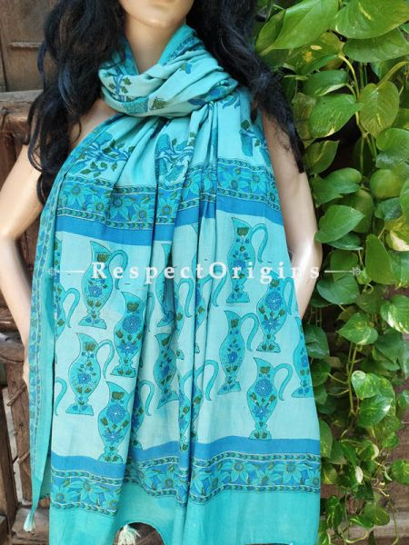 Blue Bagh Hand-printed Cotton Stole; 95 x 45 Inches; RespectOrigins.com