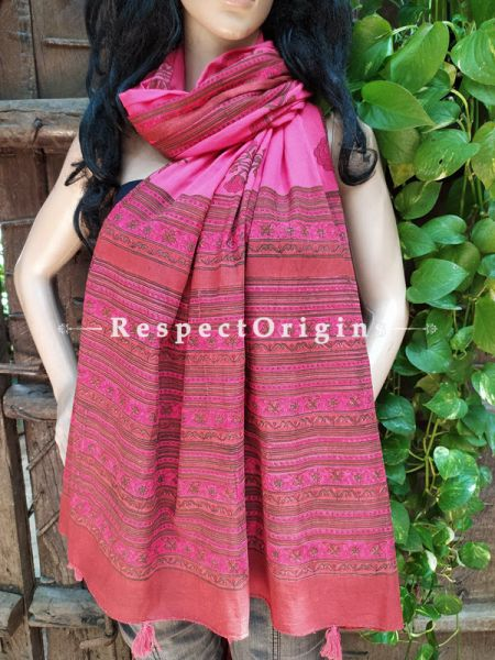Pink Bagh Hand-printed Cotton Stole;95 x45 Inches; RespectOrigins.com