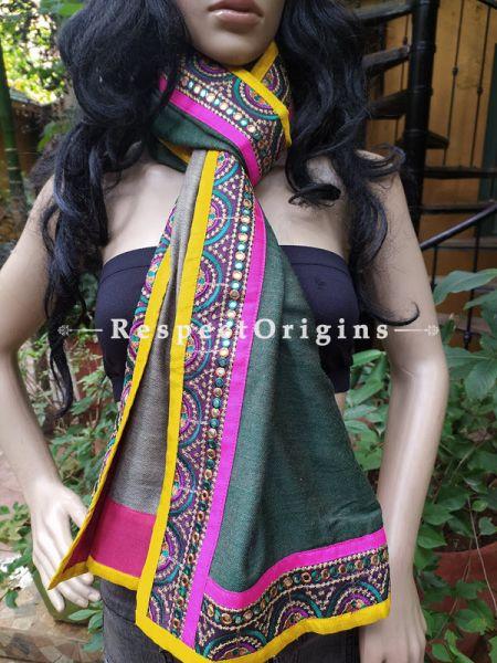 Light Grey Woolen Shawl Stole Designer Border; 80 x 40  Inch; RespectOrigins.com