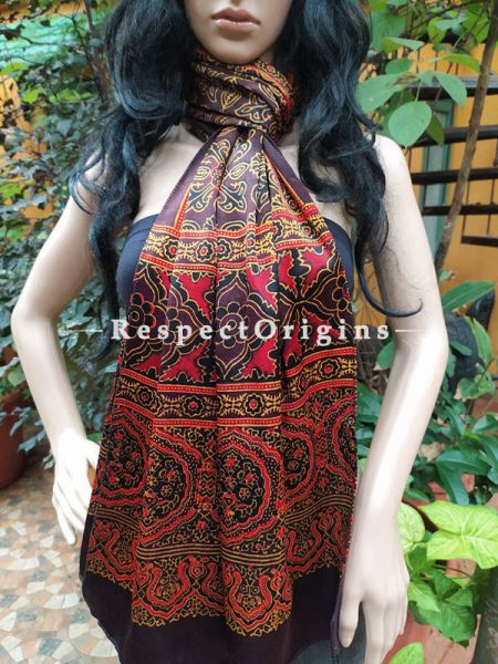 Purple Gujarati Ajrakh Block Printed Mashru Silk Stole; RespectOrigins.com