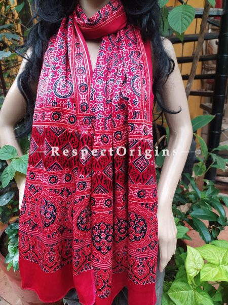 Red Gujarati Ajrakh Block Printed Mashru Silk Stole; RespectOrigins.com