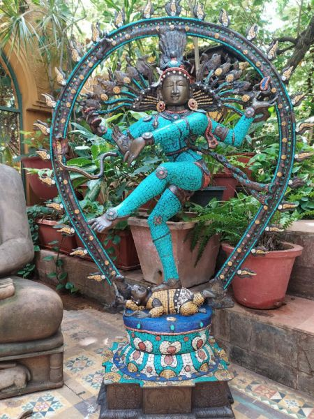 Buy Resplendent Nataraja in Bronze Studded with Turquoise Stonework At RespectOrigins.com
