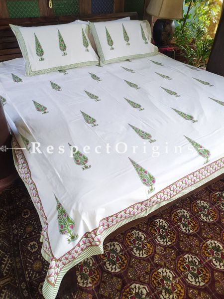 White Base Luxury Rich Cotton- filled Reversible King Doher or Blacket Bed Set; Blanket: 110 x 90 In; Sheet: 110 x 90 In; Shams: 30 x 20 In; RespectOrigins.com