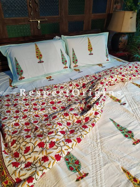 Riyaana Luxury Rich Cotton- filled Reversible King Quilt Bed Set; Quilt: 105 x 90 In; Sheet: 110 x 90 In; Shams: 30 x 20 In; RespectOrigins.com