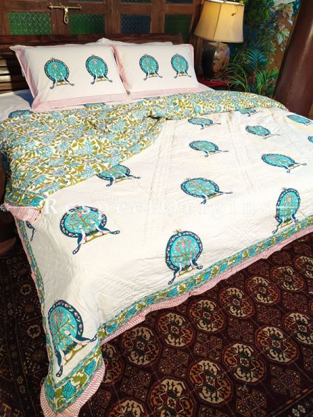 White Base Luxury Rich Cotton- filled Reversible King Quilt Bed Set; Quilt: 105 x 90 In; Sheet: 110 x 90 In; Shams: 30 x 20 In; RespectOrigins.com