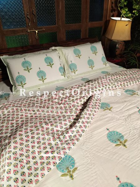 White Base Floral Design Luxury Rich Cotton- filled Reversible King Quilt Bed Set; Quilt: 105 x 90 In; Sheet: 110 x 90 In; Shams: 30 x 20 In; RespectOrigins.com