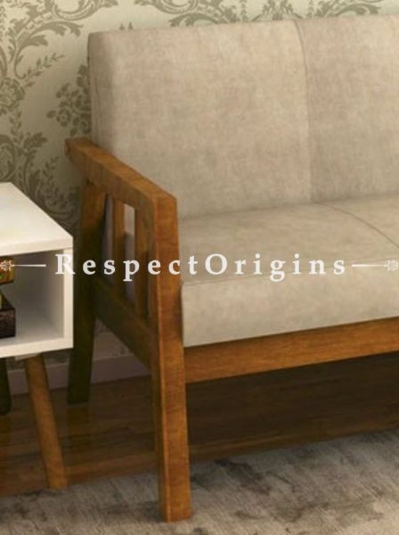 Buy Celia Handcrafted 3 Seater Sofa or couch; in coffee Finish; Beige cushions At RespectOrigins.com