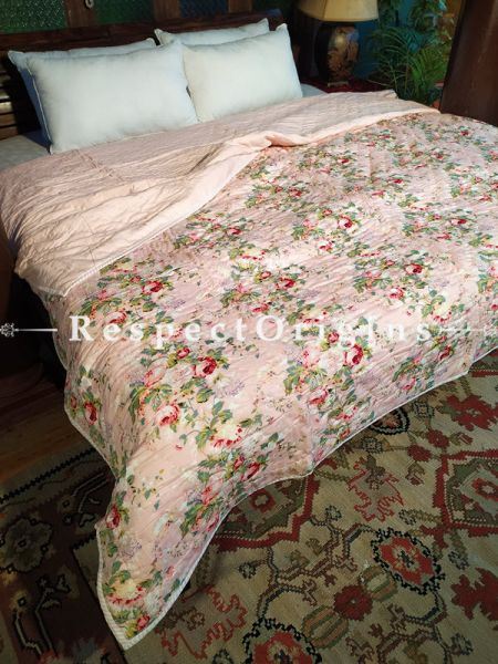 Riyaana Luxury Rich Cotton- filled Reversible King Comforter; Hand Block-printed; 105 x 87 Inches; RespectOrigins.com