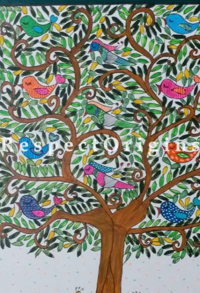 Romance Around The Tree Painting - 12In x 16In Water Color On Paper.