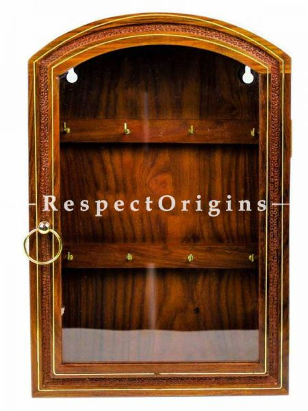 Buy Decorative & Functional Rosewood Crafted Wooden Key Cabinet with 6 Key Hooks and Glass Panel Key Storage Box At RespectOrigins.com