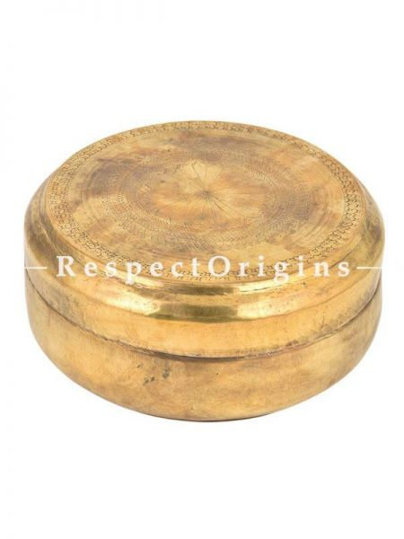 Buy Vintage Round Brass Roti Collectable Box With Flower Engraved On Lid At RespectOrigins.com