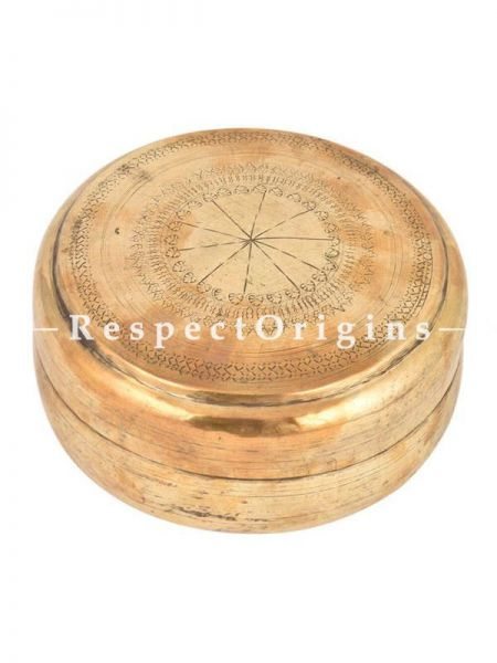 Buy Round Brass spice Box With Tribal Style Engravings, Roti, Collectibles, Keepsake Box At RespectOrigins.com