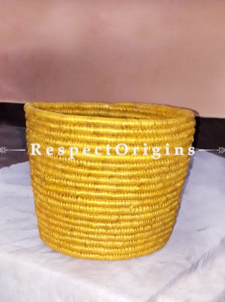Perfectly Made Handwoven Yellow Conical Moonj Grass Eco-friendly Paper Bin 10X11 inches; RespectOrigins
