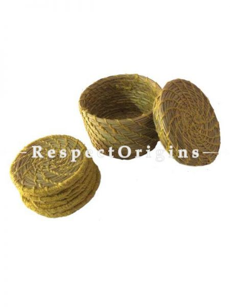 Round Set of 4 Natural Sabai Grass Coasters With yellow Thread Work Borders and Holder; RespectOrigins