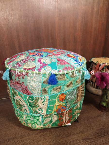 Green Round Shape Gujarati Patchwork Ottoman Poof Cover; Cotton; 14 x 18 Inches; RespectOrigins.com