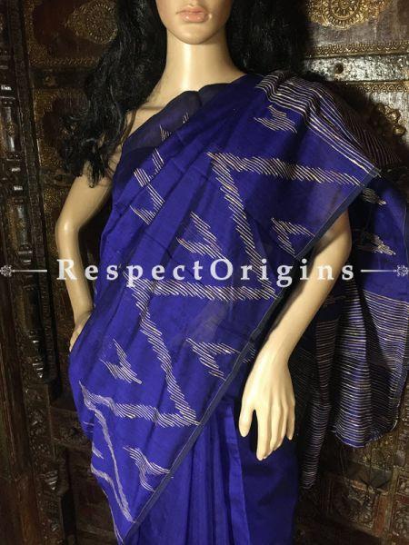 Royal Blue; Cotton Saree; Handloom, RespectOrigins.com