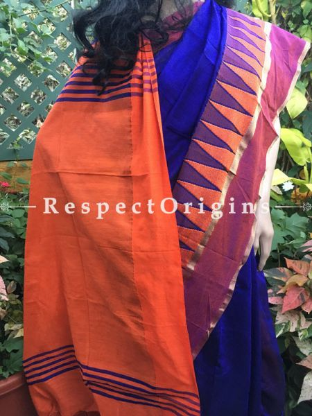 Royal Blue; Handloom; Cotton Silk Saree, RespectOrigins.com