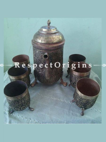 Buy Copper Surahi Glass Set At RespectOrigins.com